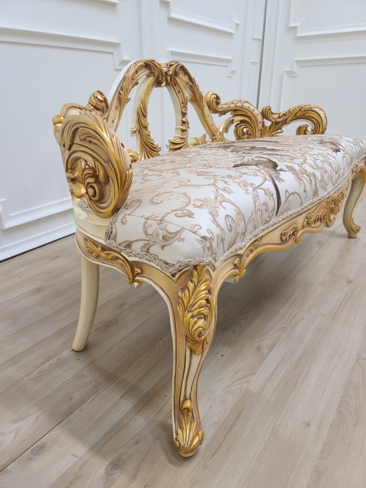French Settee/ Ivory and 21K Gold Leaf Accent / Hand Carved Wood Frame / Embroidered Beige Silk