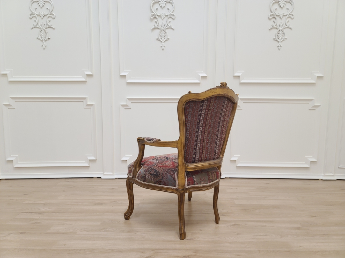 Made To Order / Pair of Louis XVI Style/ Aged gold leaf / Hand Carved Frame / Gobelin fabric Armchair