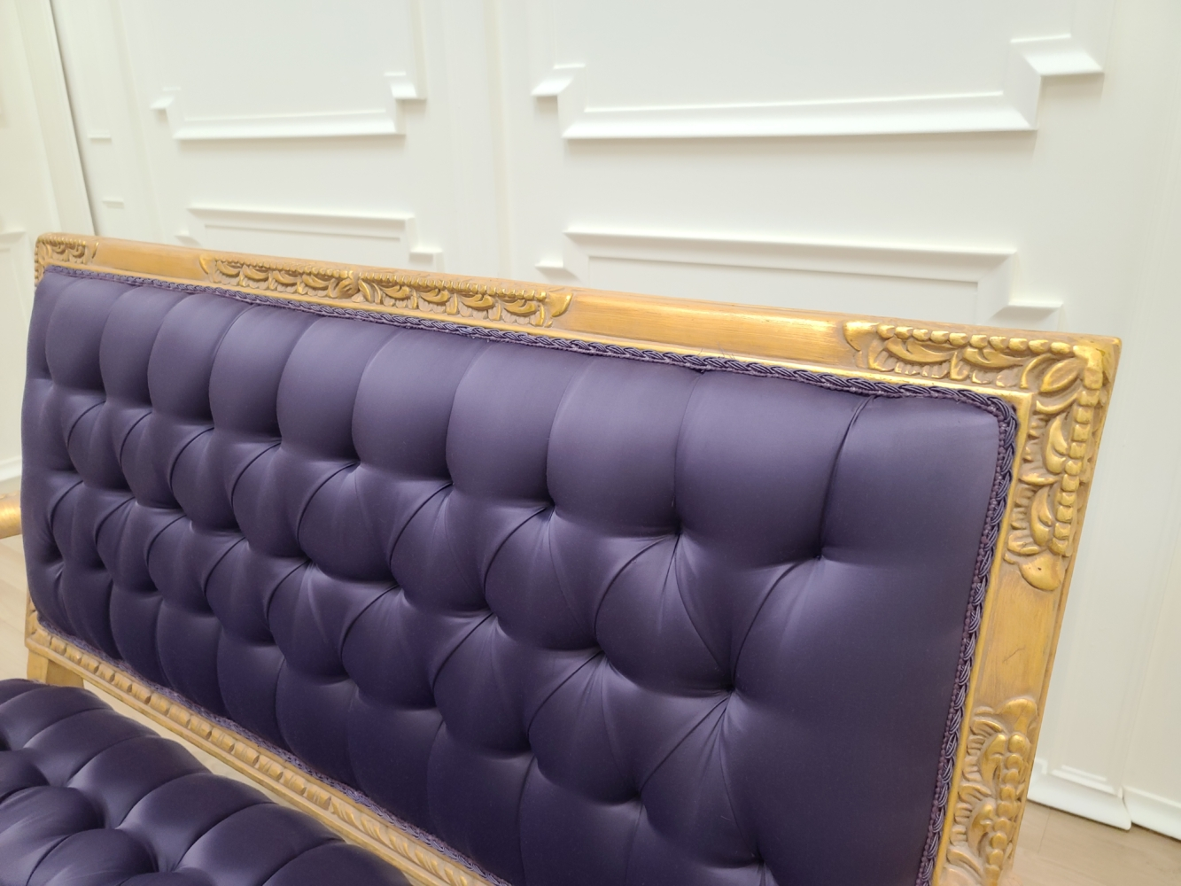 French Settee/Antique Gold Leaf Finish/ Hand Carved Beech Wood Frame/ Dark Purple Tufted Satin