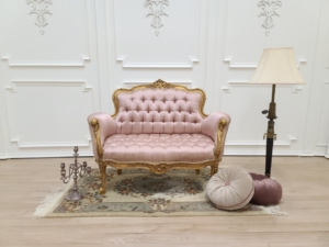 French Settee/ Gold Leaf Finish Frame/ Hand Carved Wood/ Tufted Light Rose Satin Silk