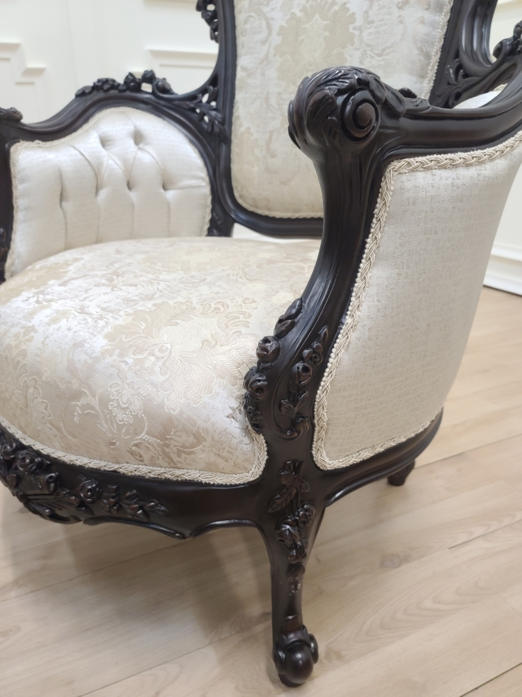 Made to order / French Style/ Dark Espresso Finish/ Hand Carved Wooden Frame/ Embroidered Light Taupe Patterned Silk / Living Room Set