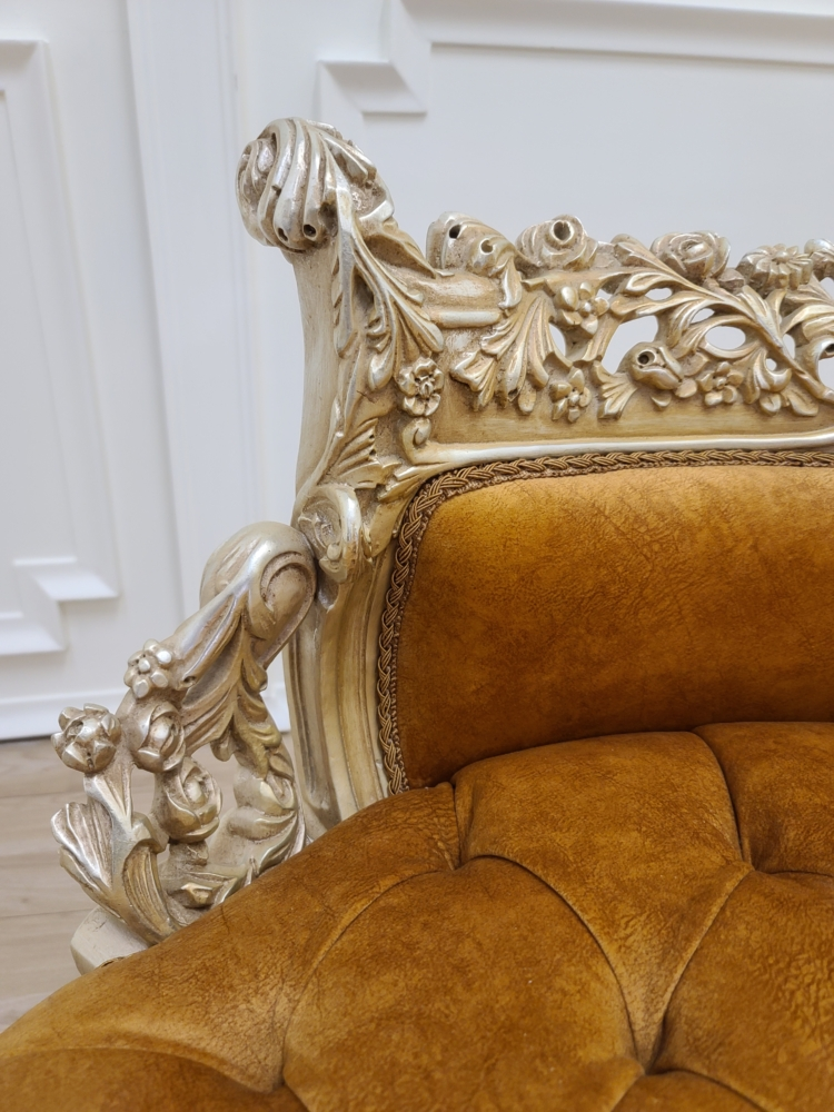 Made To Order / French Settee/ Shabby Chic /Hand Carved Wood Frame / Tufted Apricot Suede Fabric