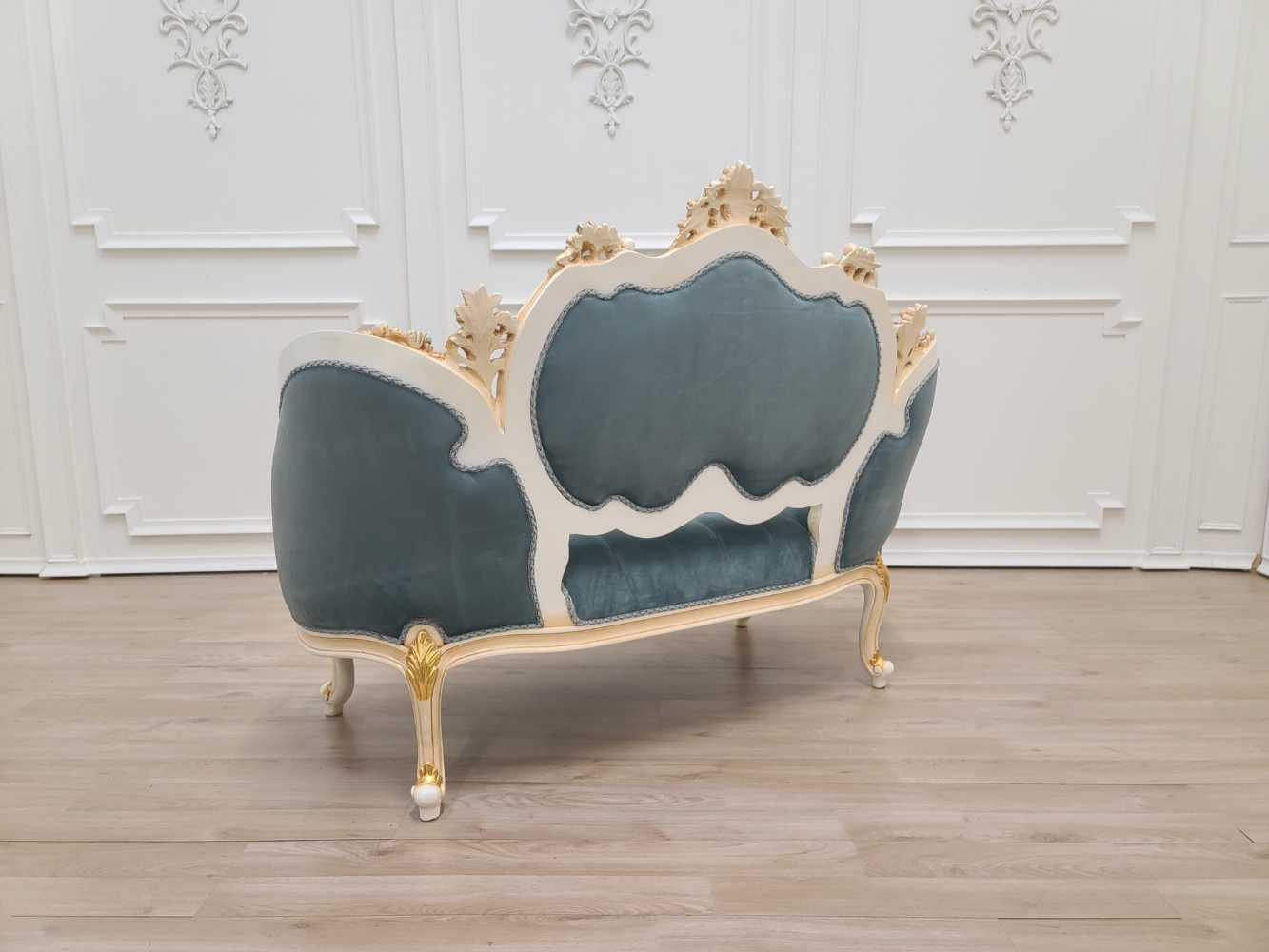Made To Order / French Settee/ Ivory with Gold Leaf Accent/ Tufted Cerulean Blue Velvet Upholstered/Hand Carved Wooden Frame