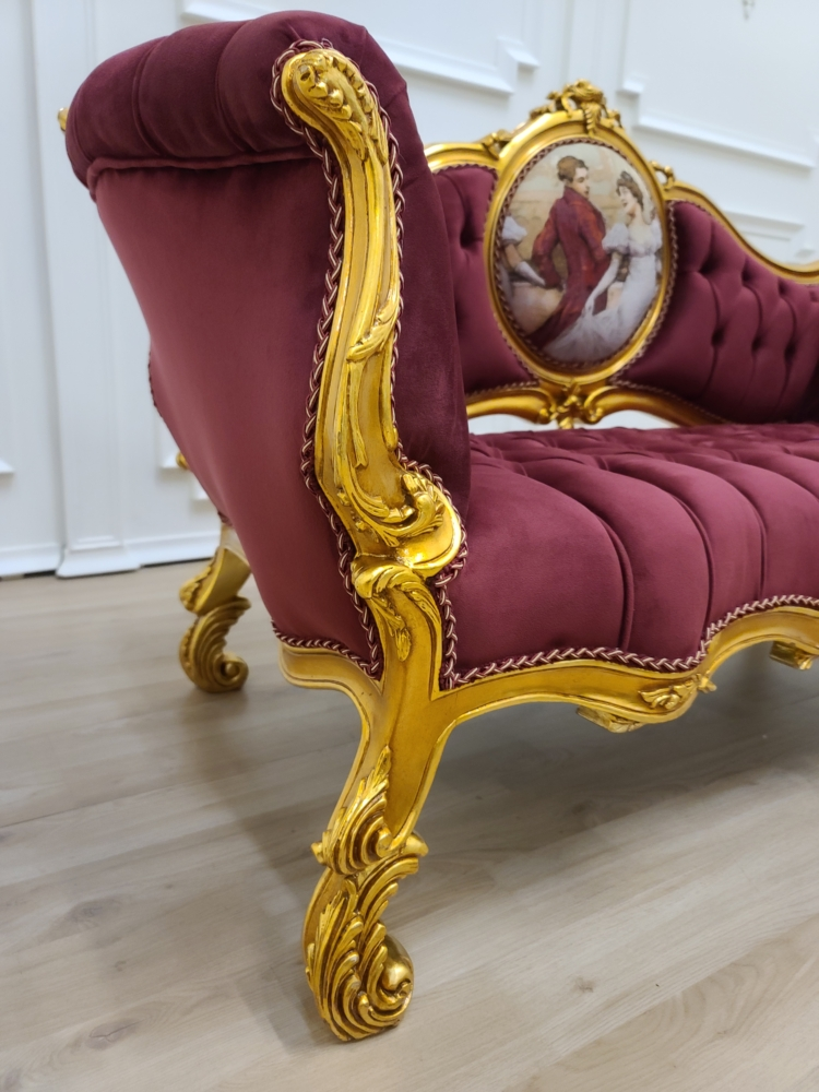 French Settee/ Aged Gold Leaf Frame/ Hand Carved Fram/ Tufted Maroon Velvet/ French Pictorial Fabric