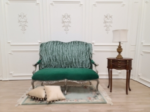 French Style , Silver Leaf Hand Carved Wooden Frame , Emerald Green Velvet