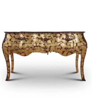 Vintage French Style, 24K Gold Leaf , Marble Top , 3 Drawers , Table / Desk