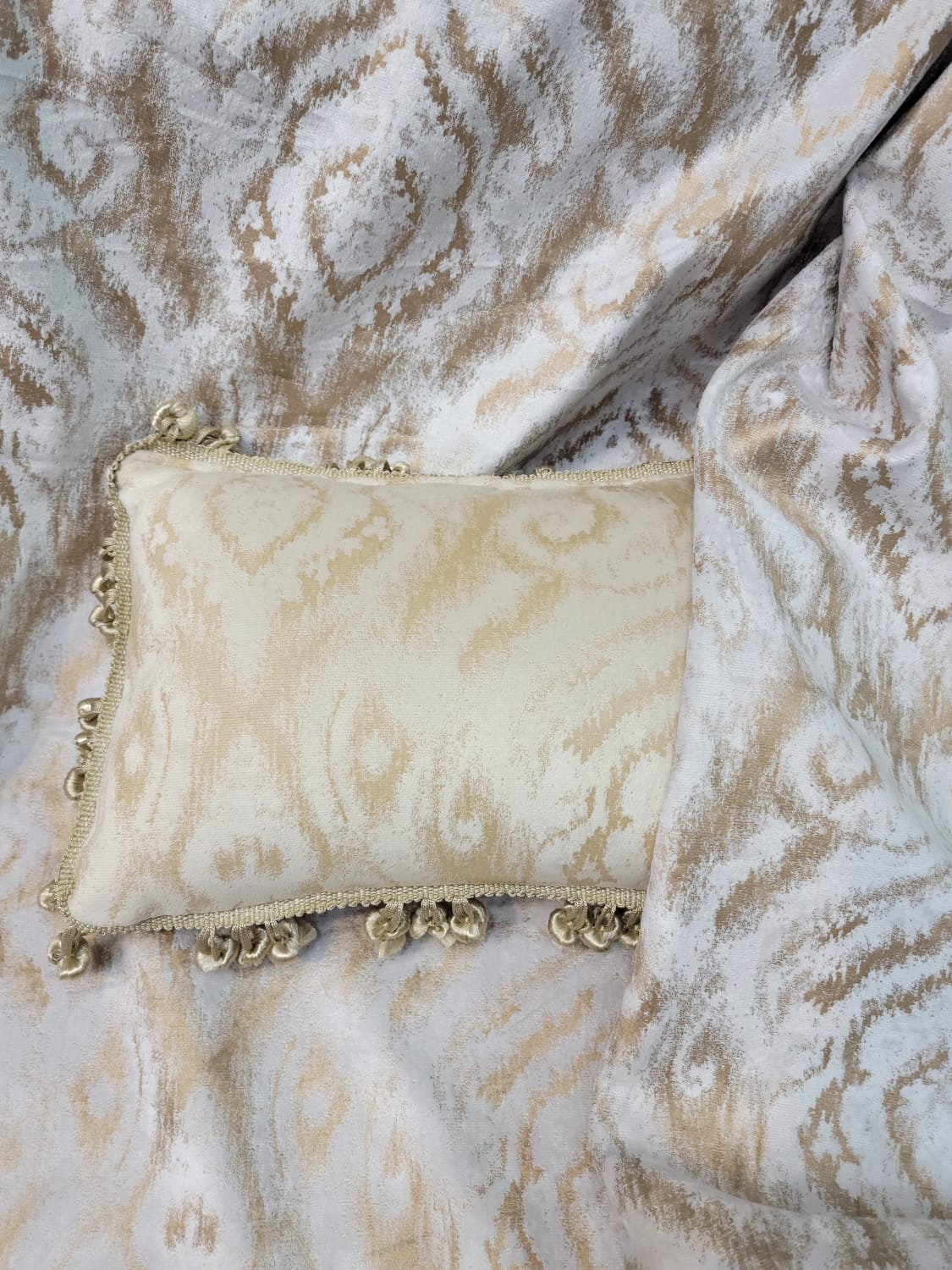 Private Listing / Victorian Sofa/Vintage gold leaf finish , Hand Carved Wood Frame /Tufted Patterned off white   Velvet/ Chaise Lounge