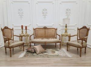 Louis XV Style, Bronze Finished Gold Leaf , Hand Carved Frame/  Taupe Pictorial Fabric / Living Room Set