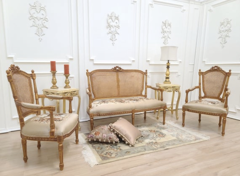 Made to order / Louis XV Style, Bronze Finished Gold Leaf , Hand Carved Frame/  Taupe Pictorial Fabric / Living Room Set