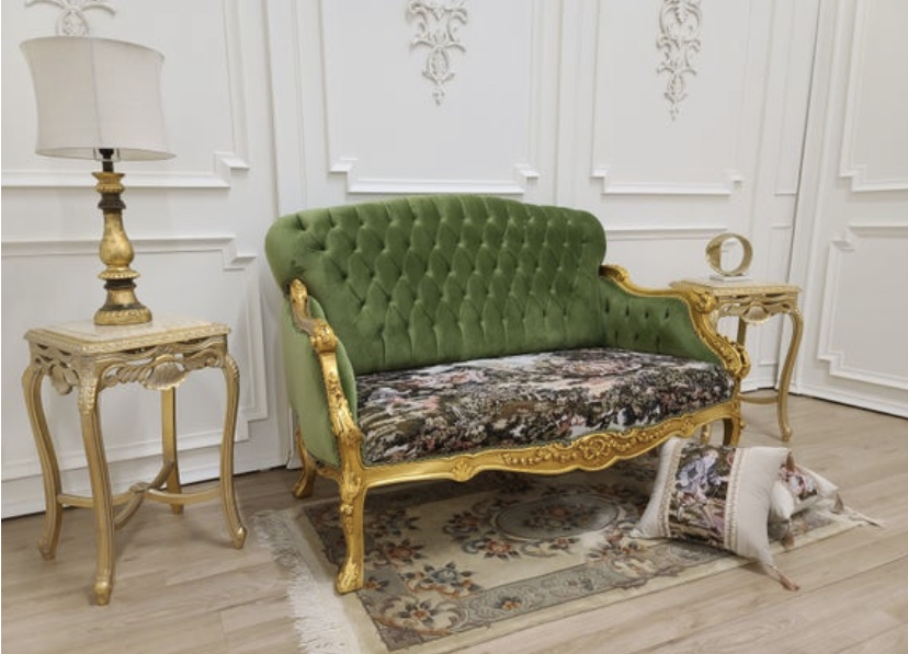 17th century French Sofa/ 21K Gold Leaf Hand Carved Frame/ French Pictorial Toile/ Tufted Pistachio Green Velvet
