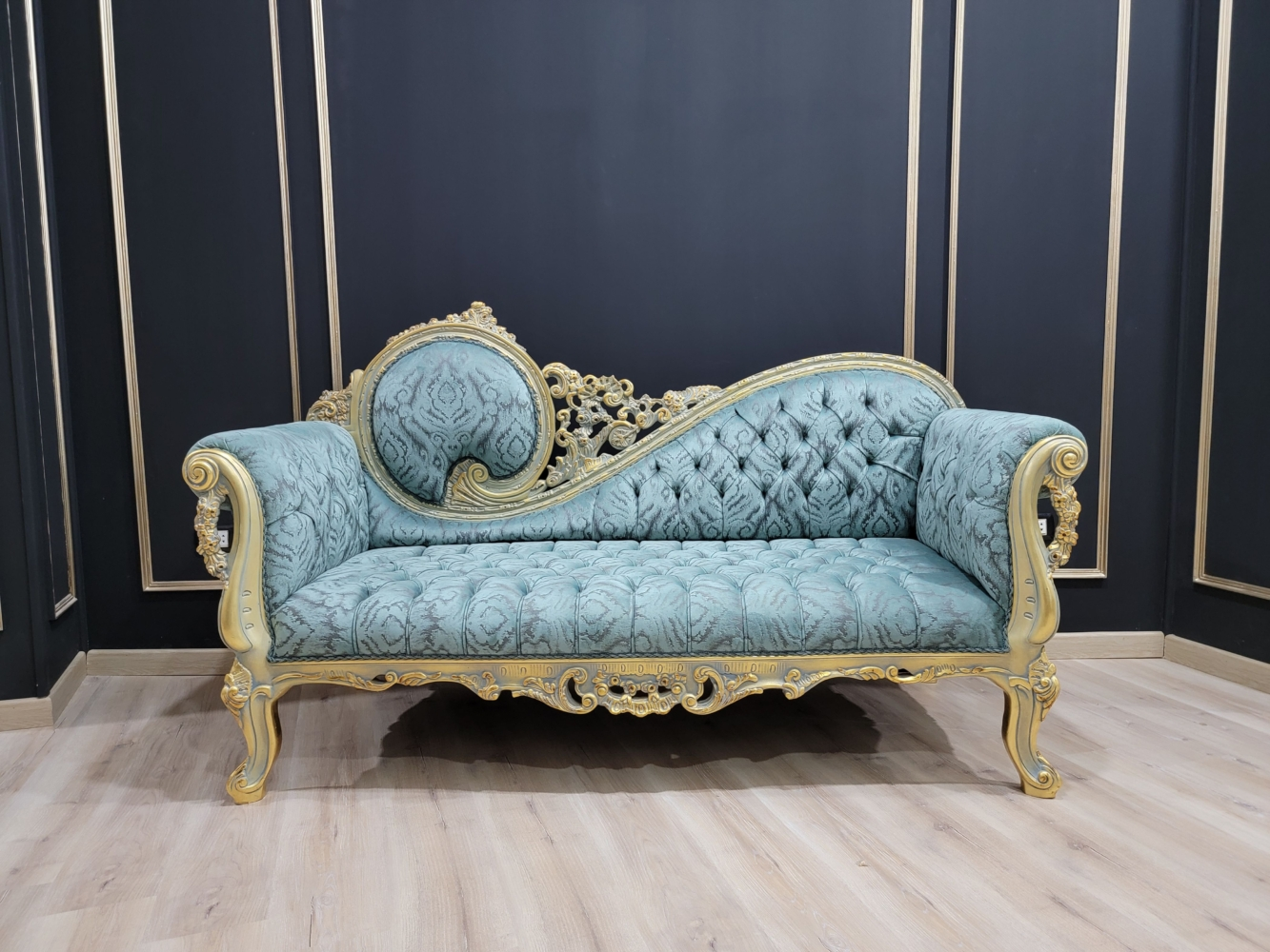 Victorian Style Sofa/Aged Gold Leaf Hand Carved Wood Frame /Tufted Cerulean Blue Velvet/Chaise Lounge