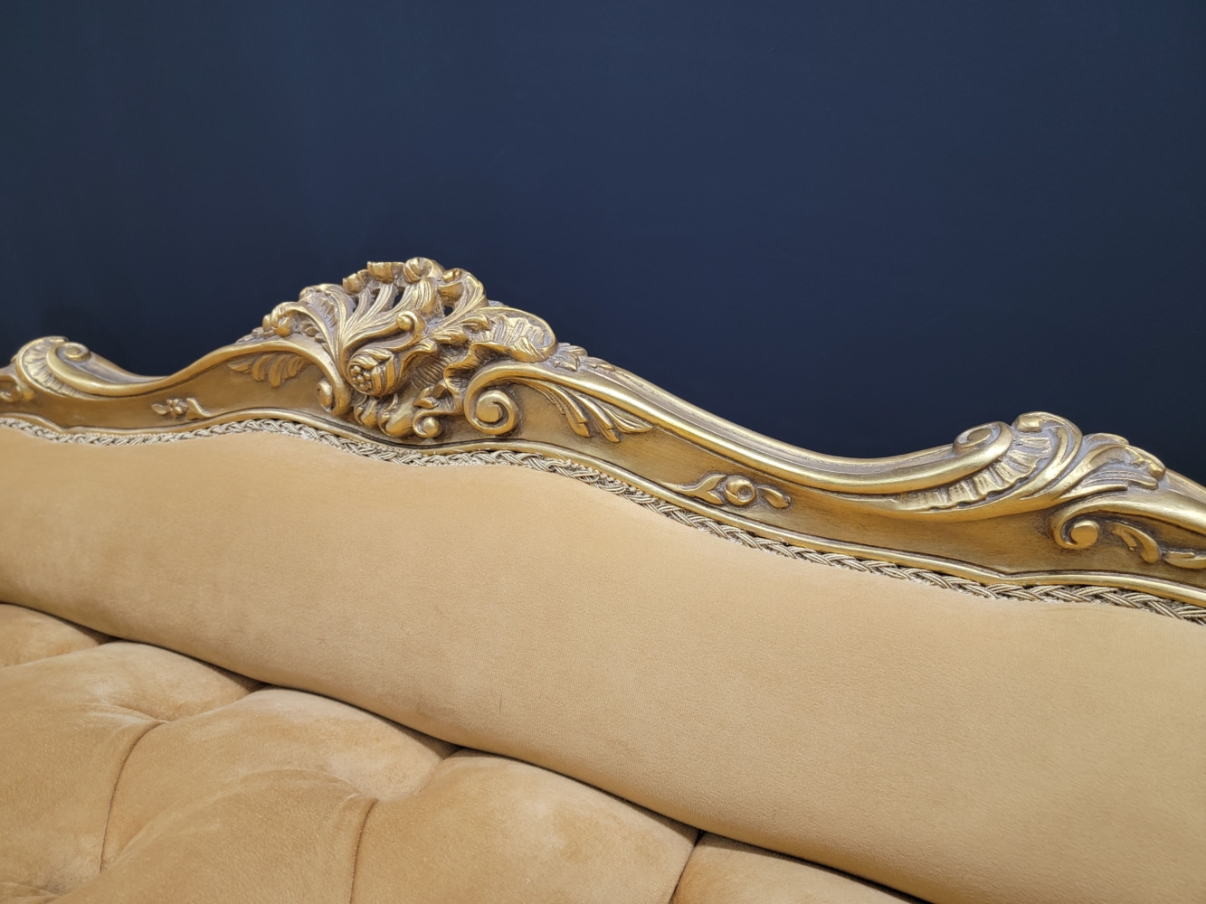 French Style Settee/ Aged 24k Gold Leaf /Hand Carved Wood Frame / Tufted Honey Yellow Velvet