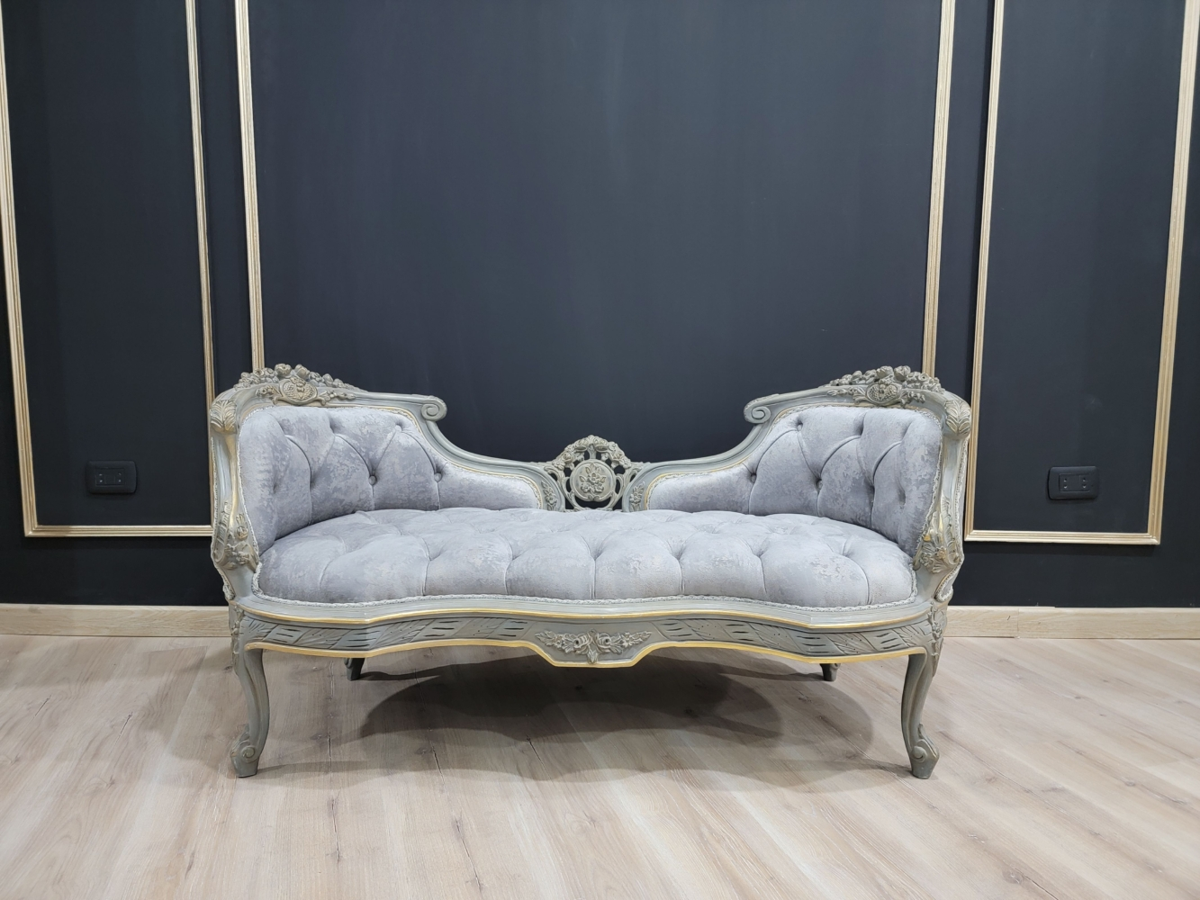 French Style Settee/ Gold Leafed with Silver Shades / Tufted Silver Velvet/ Hand Carved Wood Frame