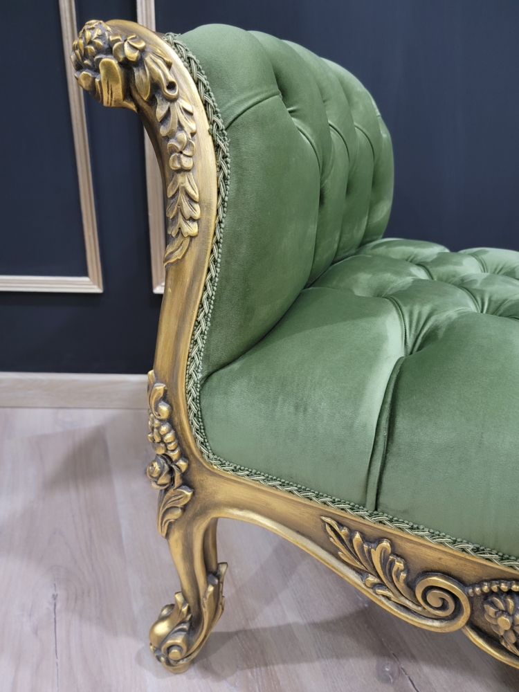 French Style Chaise Lounge/ Antique Gold Leaf Finish/Hand Carved Wood Frame/ Tufted Emerald Green