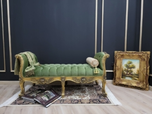Made To Order /French Style Chaise Lounge/ Antique Gold Leaf Finish/Hand Carved Wood Frame/ Tufted Emerald Green