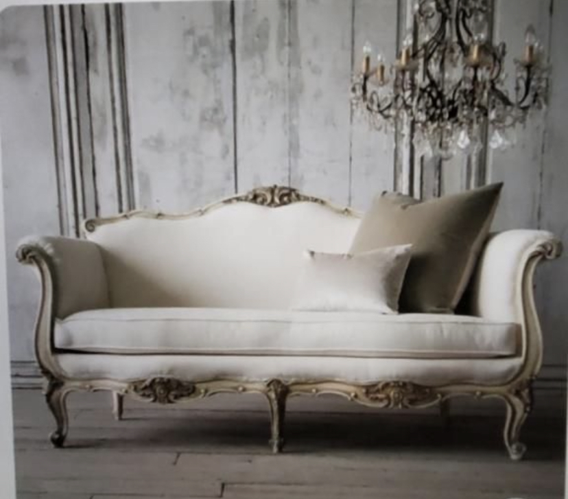 Private listing / French style, Rustic Gold finish, tufted neutral Velvet