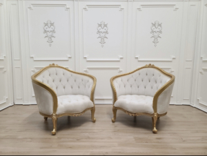 Private listing  / Art Deco French Style/ 24K Gold Leaf Hand Carved Wooden Fram/ Pair of chairs and table set