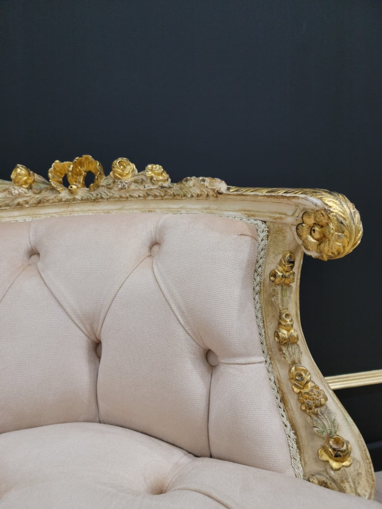 French Style Settee/ Stressed Gold Leaf Finish/ Hand Carved Wood Frame/ Tufted Velvet