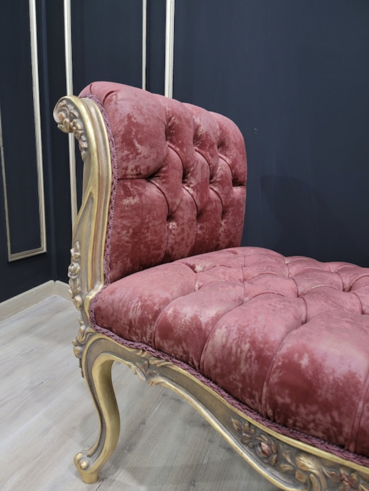 French Style Chaise Lounge/ Antique Gold Leaf Finish/Hand Carved Wood Frame/ Tufted Rouge Velvet