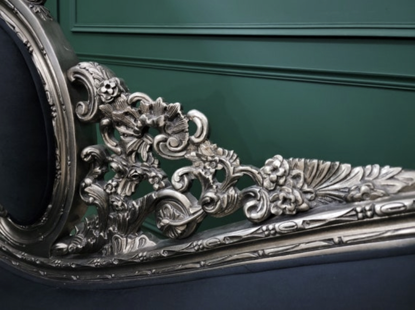 Victorian Style Chaise Lounge/ Hand Carved Wooden Frame / Aged Silver Leaf Finish/ Tufted Black Velvet