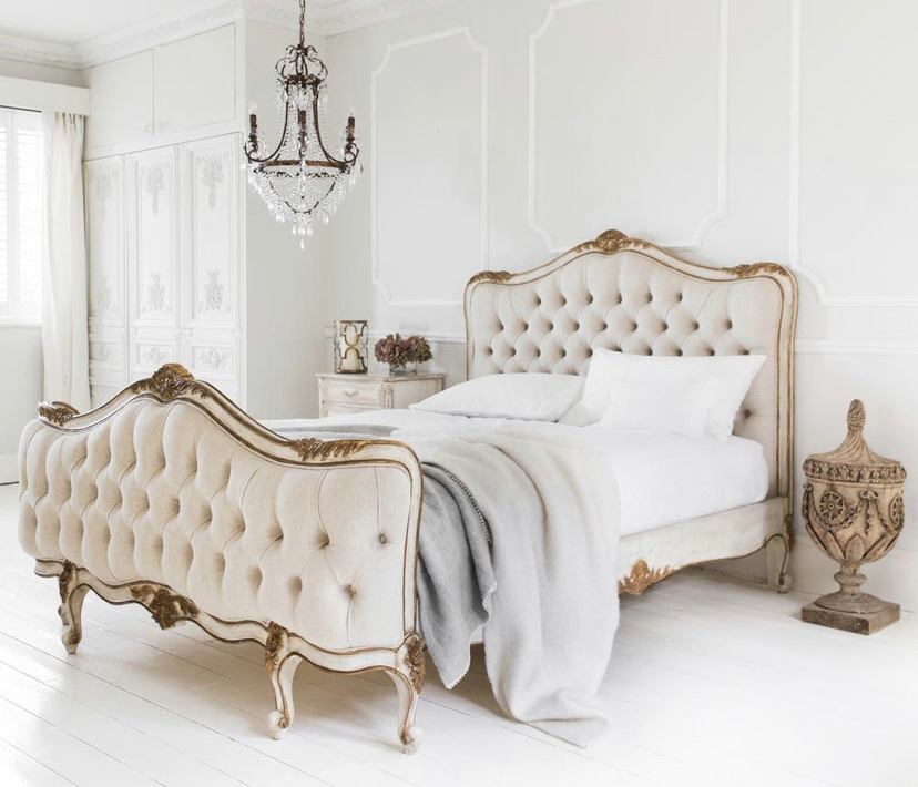 French style , white with gold leaf accent , tufted beige velvet , bed frame